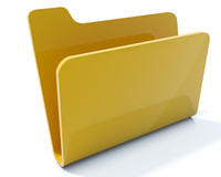 Empty yellow folder icon isolated on white